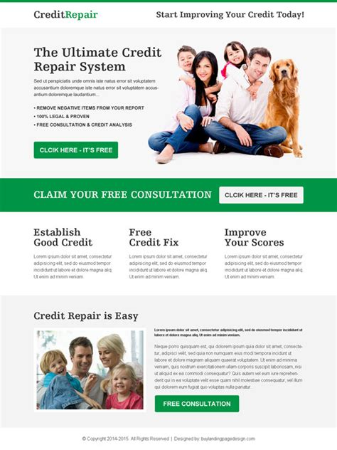 Credit Repair Business Website Template Credit Repair Responsive Landing Page Design To Boost Conversion Landing Page Designs