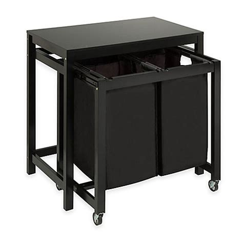 Laundry Sorter With Folding Table Honey Can Do 174 Laundry Sorter And Folding Table In Black Bed Bath Beyond