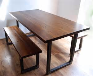 Bench Kitchen Table And Chairs Industrial Vintage Rustic Dining Kitchen Table Bench Set Solid Wood Steel Ebay