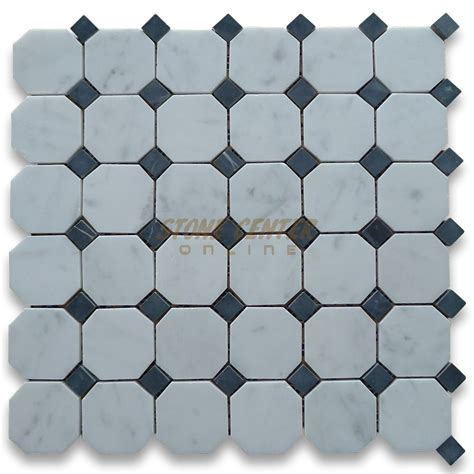 carrara white 2 inch octagon mosaic tile w black dots