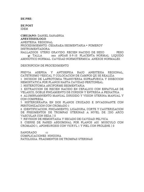 Ejemploe De Nota De Recen Nacidos | nota operatoria y descripcion cesarea pomeroy pfannestiel