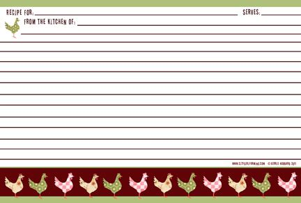rooster recipe card template free recipe card templates search results