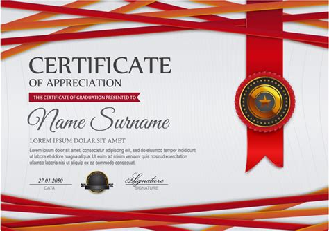 certificate design red red styles certificate template vector 01 vector