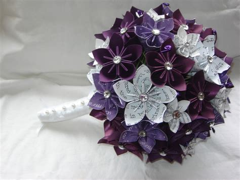 Origami Bridal Bouquet - paper kusudama origami flower wedding bouquet customized