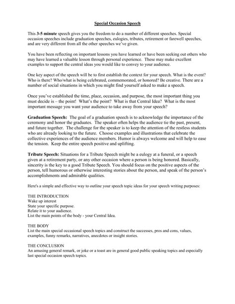 Funeral Tribute Speech Outline by Tribute Speech Exles Resume Template