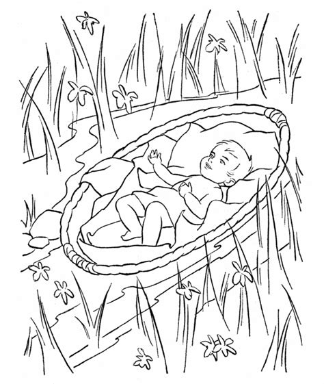 coloring pages baby moses basket baby moses being scared being in water coloring page