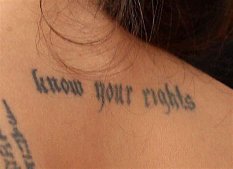 angelina jolie tattoo know your rights font wordy celebrity tattoos what do they say fooyoh