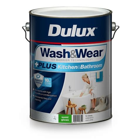 semi gloss or satin for bathroom dulux wash wear 10l plus kitchen bathroom vivid white