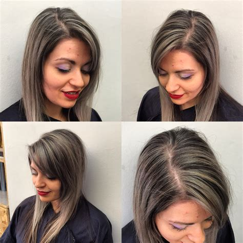 what are good colors to use for highlights and low lights for redhair beautiful gray silver highlights on dark hair with a sleak