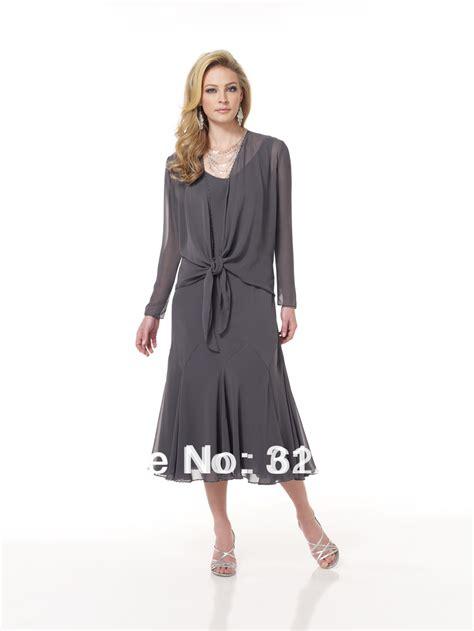 Jaket Grey Style Longsleeve fashion design sleeve grey of the dress chiffon tea length with jacket pleated