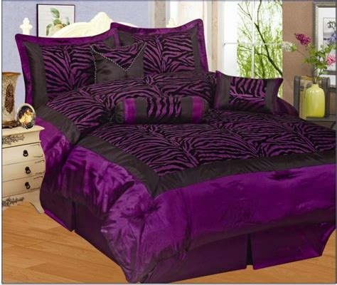 7 piece queen size comforter set satin zebra purple black