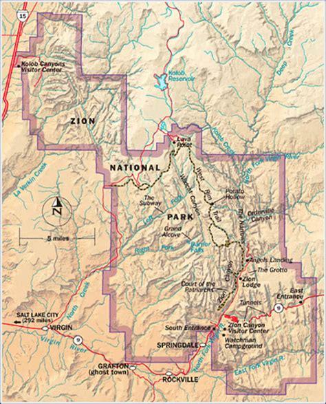 zion park map zion national park cing survival national park