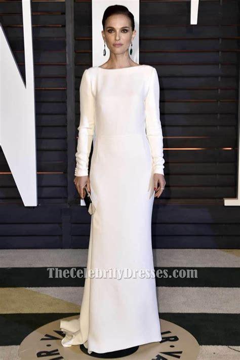 natalie portman white long sleeve evening dress vanity