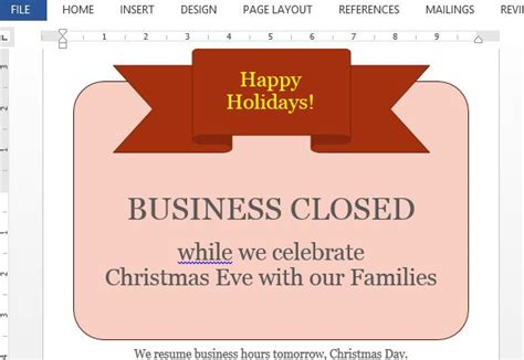 business closed sign template business closed sign template for word