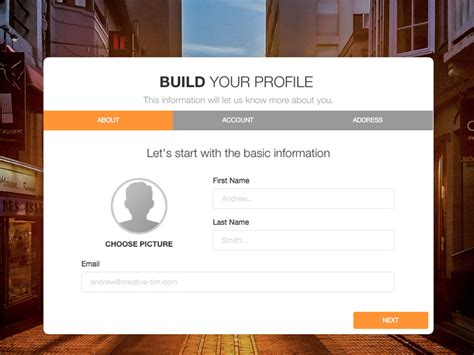 design html form using div bootstrap wizard free form wizard creative tim
