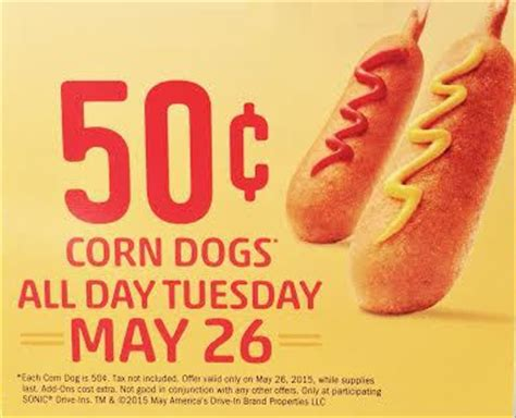 sonic corn dogs sonic drive in 50 162 corn dogs day on 5 26