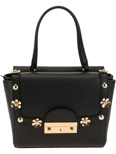 Other Designers Cheap Designer Chic Proenza Schouler Handbags by Moschino Cheap Chic Floral Studded Shoulder Bag In Black