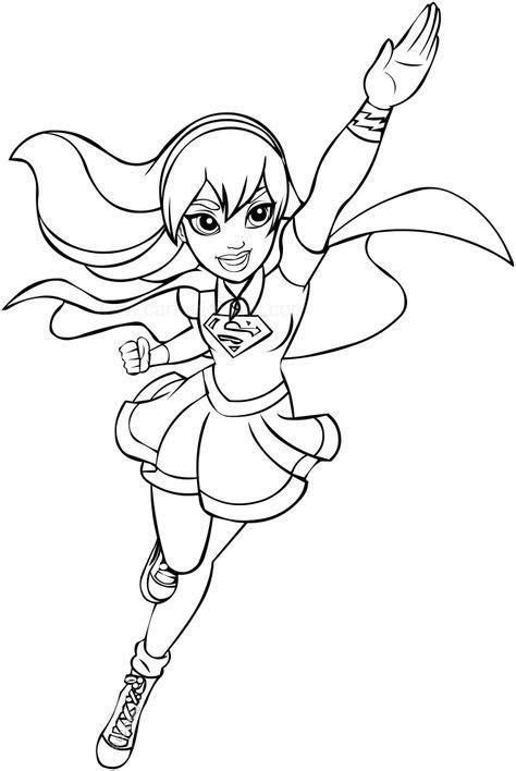 supergirl dc superhero girls coloring page superhero