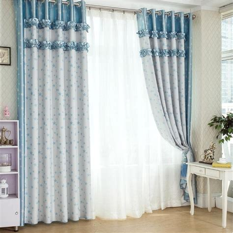 country blue curtains fabulous blue country style polyester cotton star curtains