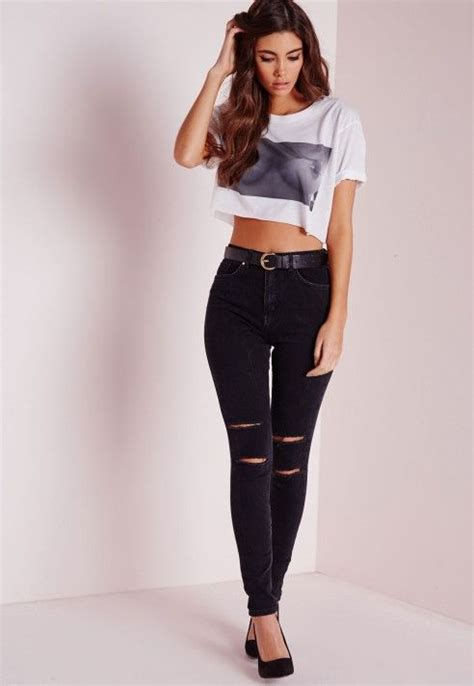 Jegging Cut Knee Ripped Big Size Black Soft 33 best images about on ankle grazer black ripped and graphic prints