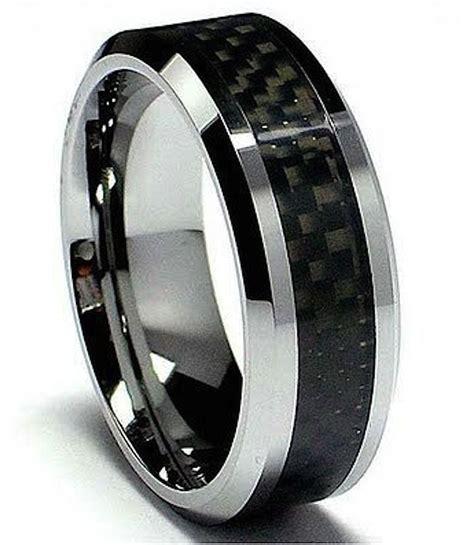 mens tungsten carbide with carbon fibre inlay wedding