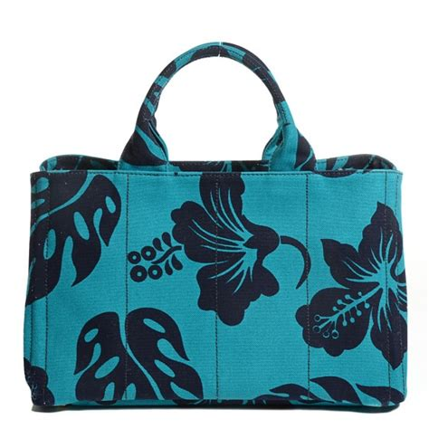 canapé turquoise prada canvas canapa hibiscus tote turchese 104326