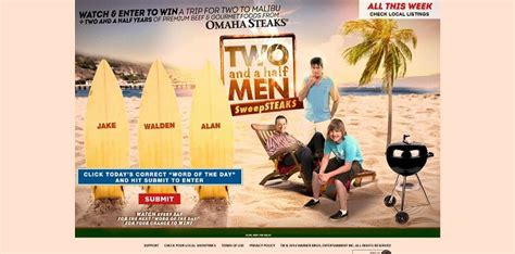 Two And A Half Men Sweepstakes - malibudreamgetaway com two and a half men sweepsteaks