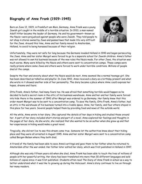 anne frank biography ks2 planning year 6 non fiction 1 biography and autobiography by