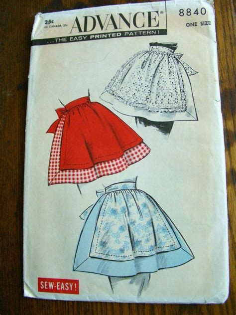 pattern for simple half apron vintage sew easy half apron sewing pattern 1 size original