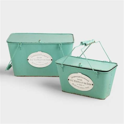 bathroom storage boxes with lids aqua metal marcie boxes with lid world market