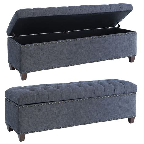 Fabric Storage Bench Seat Accent Storage Bedroom Bench Upholstery Tufted Seating