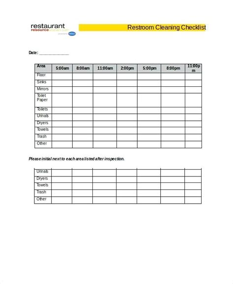 Bathroom Checklist Template by Bathroom Cleaning Schedule Template Restroom Cleaning