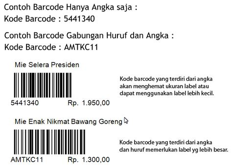 cara membuat barcode harga barang contoh hasil cetak barcode kios barcode