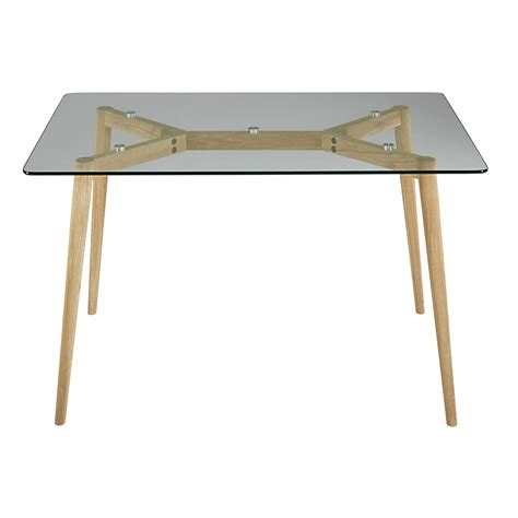 Oak Table L Oak And Glass Dining Table L 120 Cm Mirage Maisons Du Monde