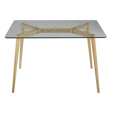 oak and glass dining table l 120 cm mirage maisons du monde