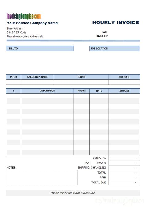 invoice template for hours worked invoice template for hours worked free