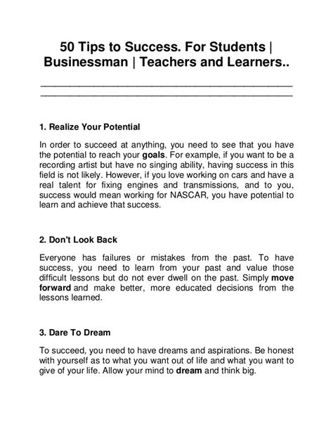 Success Essay Exles by 50 Tips To Success In Career Dreams