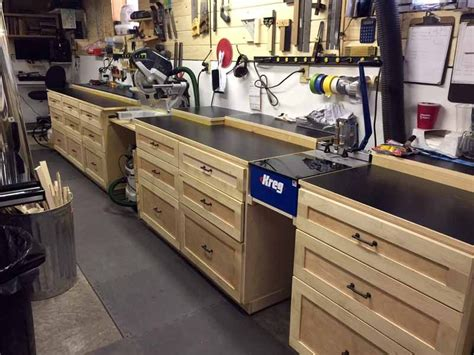 workshop table layout custom work bench with built in kreg jig and miter station
