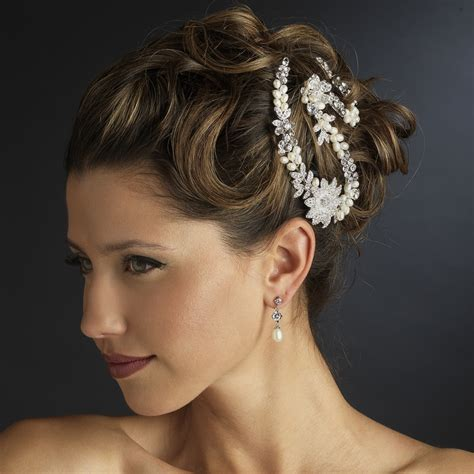 Wedding Hair Accessories Direct by Silver Ivory Freshwater Pearl Clear Rhinestone Bridal