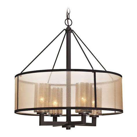 Drum Pendant Light With Beige Cream Shades In Oil Rubbed Pendant Lighting Rubbed Bronze Finish