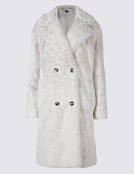 Breasted Faux Fur Coat breasted faux fur coat per una m s