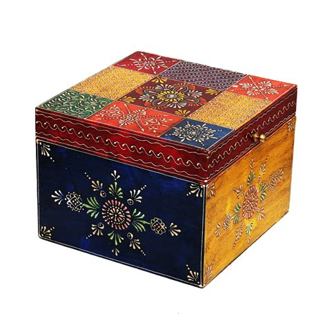 Handmade Handicraft Items - bring home this handmade multicolor embossed box in wood