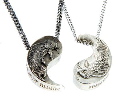 koi white black yin yang necklace set