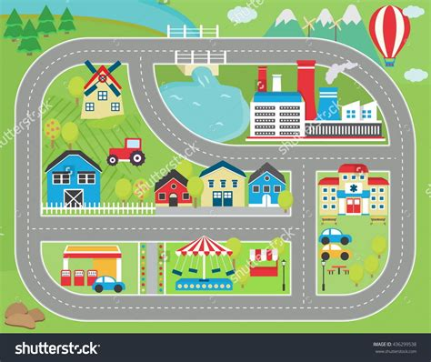 printable play road map lovely city landscape car track play mat for children