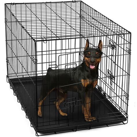 steel kennel 24 quot pet kennel cat folding steel crate animal playpen wire metal cage ebay