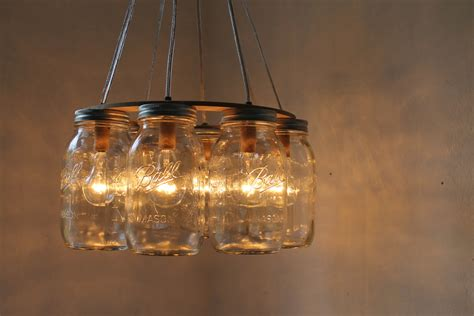 Jar Light Fixtures by Wagon Wheel Jar Chandelier Quart Sized By Bootsngus