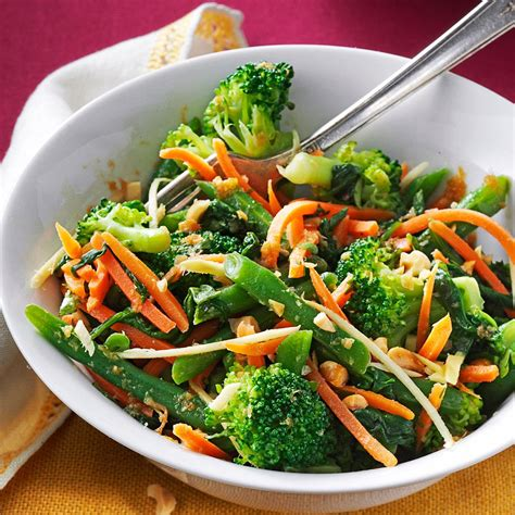 ginger sesame steamed vegetable salad recipe taste of home