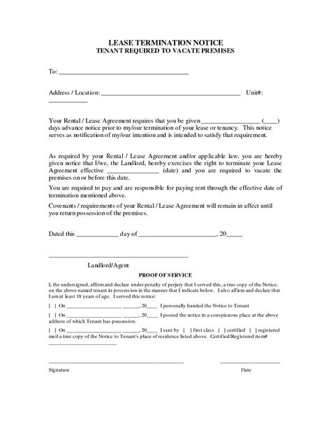 Rental Agreement Notice Letter Best Photos Of Tenant Termination Of Lease Agreement Termination Rental Lease Agreement Forms