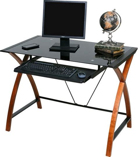 Glass And Wood Computer Desk Top 9 Best Glass Computer Desks With Keyboard Tray In 2018 Review Thez7