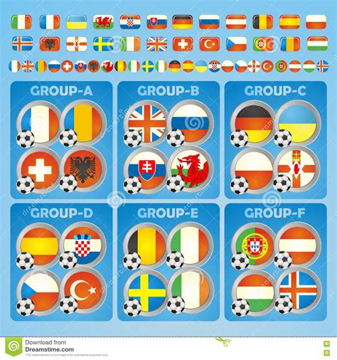 different styles of country 2016 football icons flags of the participating